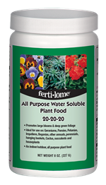 All Purpose Water Soluble Plant Food 20-20-20 (8 oz)